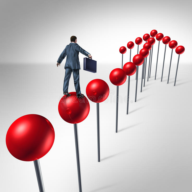 Finding Success. And planning a strategy to find opportunity as a business man climbing red pushpins in the shape of an upward arrow to financial security royalty free illustration