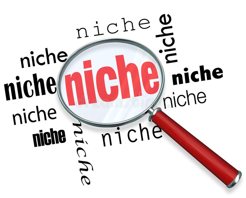 Finding a Targeted Niche - Magnifying Glass stock illustration
