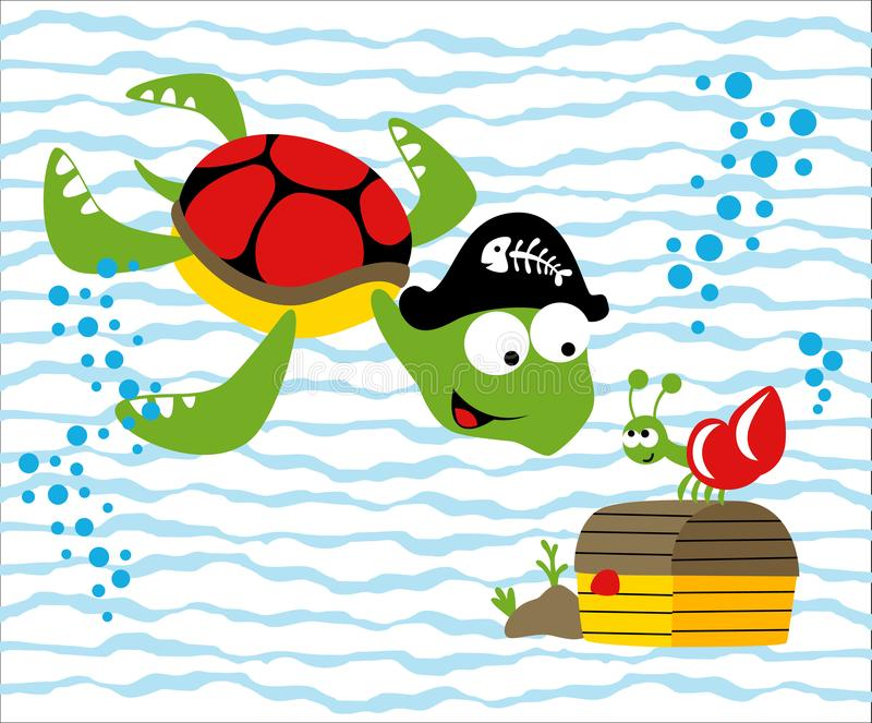 Finding treasure under sea with turtle and hermit crab, vector cartoon illustration vector illustration