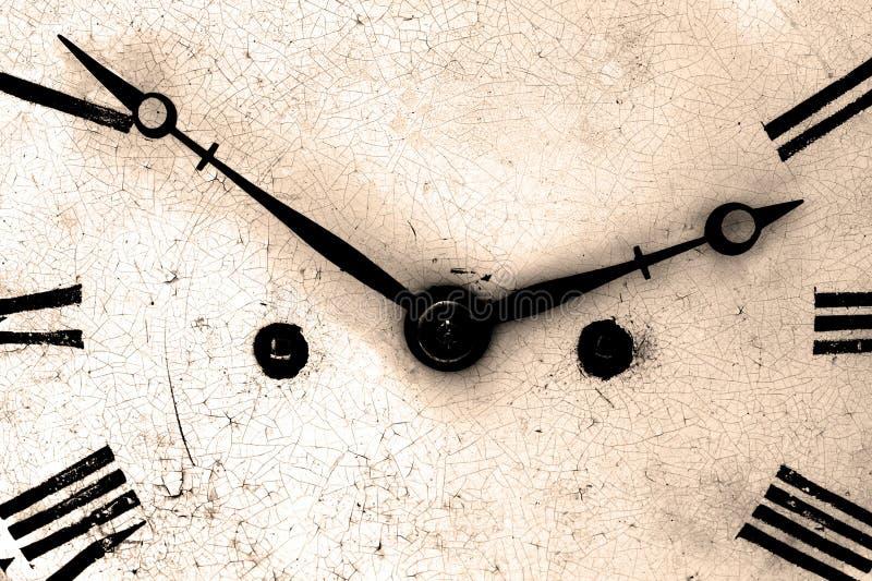 Fine antica del fronte di orologio in su fotografie stock