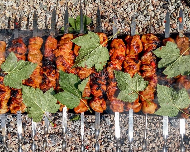 Fine arrostita di kebab su fotografia stock