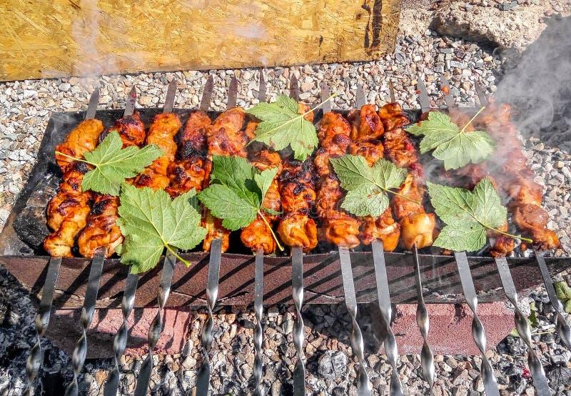 Fine arrostita di kebab su fotografie stock libere da diritti
