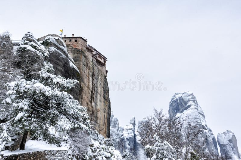Fine Art, Black and White winter scene in Meteora Eastern Orthodox monasteries, Greece. The Meteora is a rock formation in central Greece hosting one of the stock photography