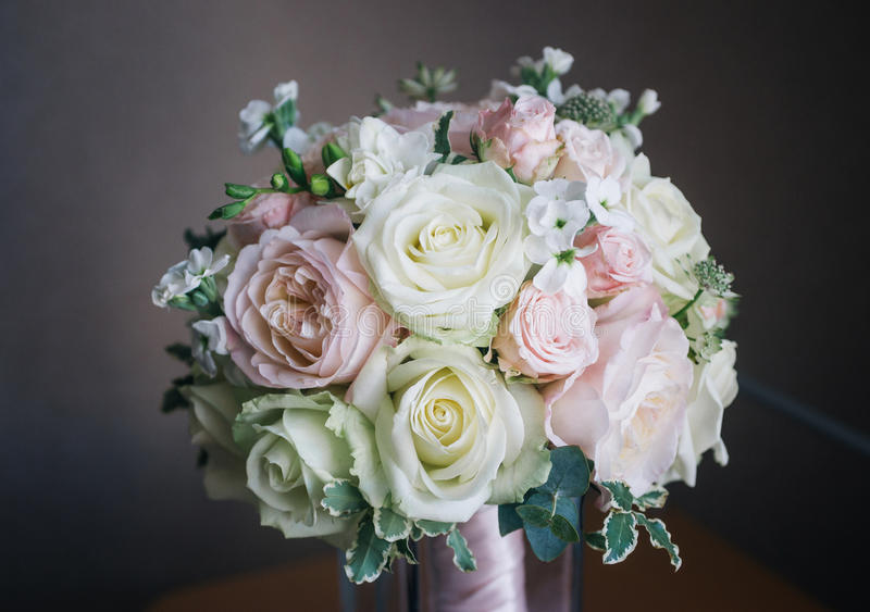 Fine art bridal bouquet in natural light royalty free stock photo