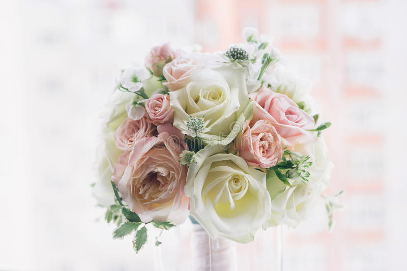 Fine art bridal bouquet in natural light royalty free stock images
