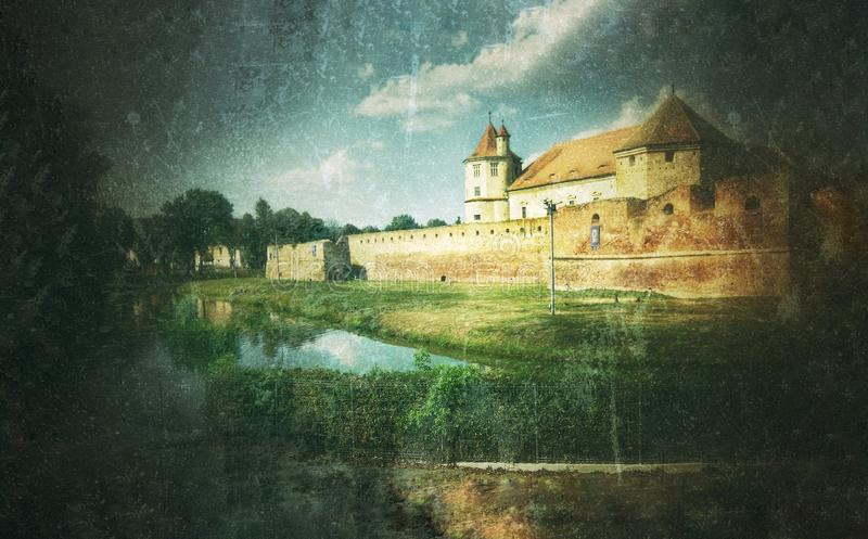 Fine art graphic illustration with Fagaras Fortress. From Romania edited in epoch style vector illustration