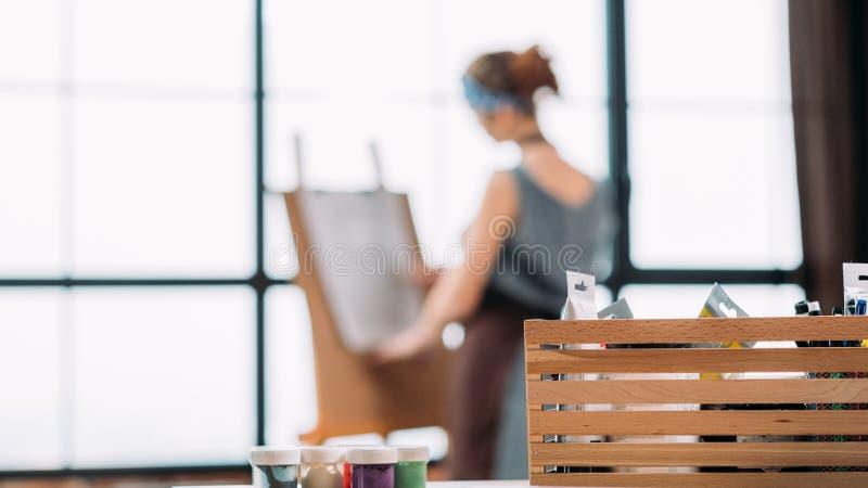Fine art hobby painter tool box lady drawing stock photo