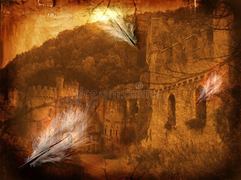 Fine art illustration - Mystery castle stock illustration