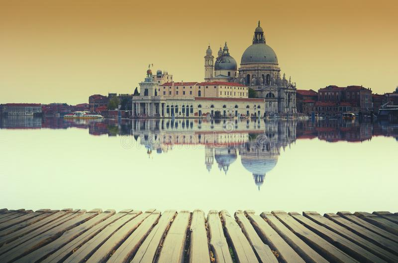 Fine art image with Grand Canal and Basilica Santa Maria della Salute, reflected on the water surface, stock images
