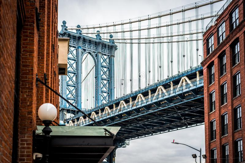 Fine Art Photography of Manhattan bridge in Dumbo Brooklyn NYC. Cityscape royalty free stock photos