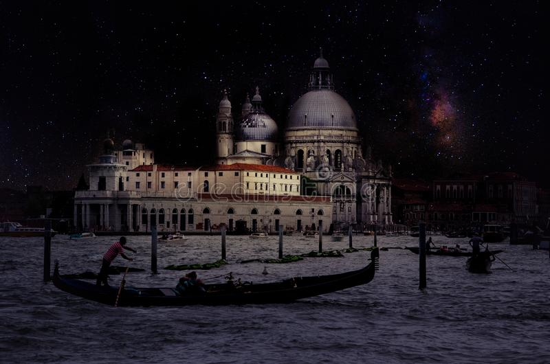 Fine art retro image with gondola on Canal Grande at night with wood planks floor for foreground, full moon and milky, Venice, It stock photography