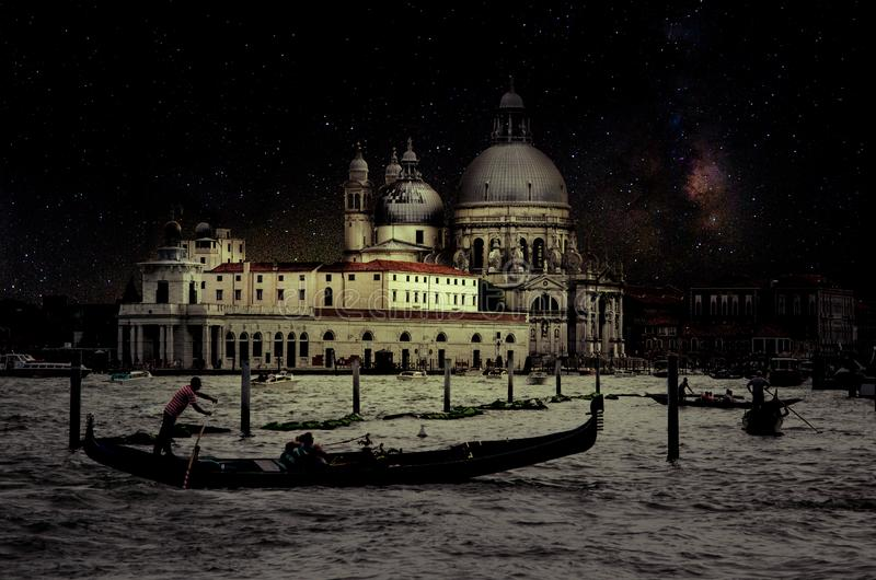 Fine art retro image with gondola on Canal Grande at night with wood planks floor for foreground, full moon and milky, Venice, It. Aly stock images