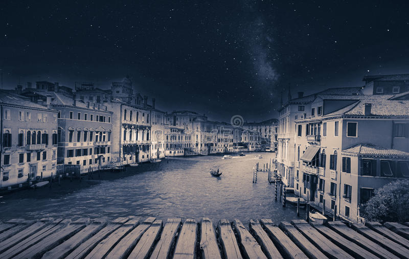 Fine art retro image with gondola on Canal Grande, Venice, It stock photos