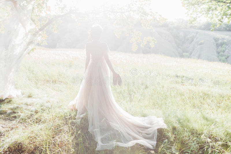 Fine art wedding photography. Beautiful bride with shoes and dress with train against the sunin nature. Fine art wedding photography. Beautiful bride with shoes stock photography