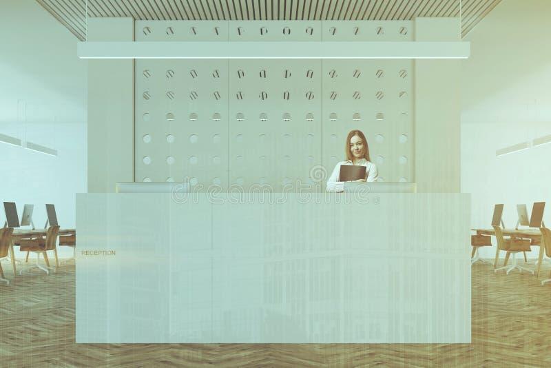 Fine bianca della reception dell'ufficio del modello su tonificata illustrazione di stock