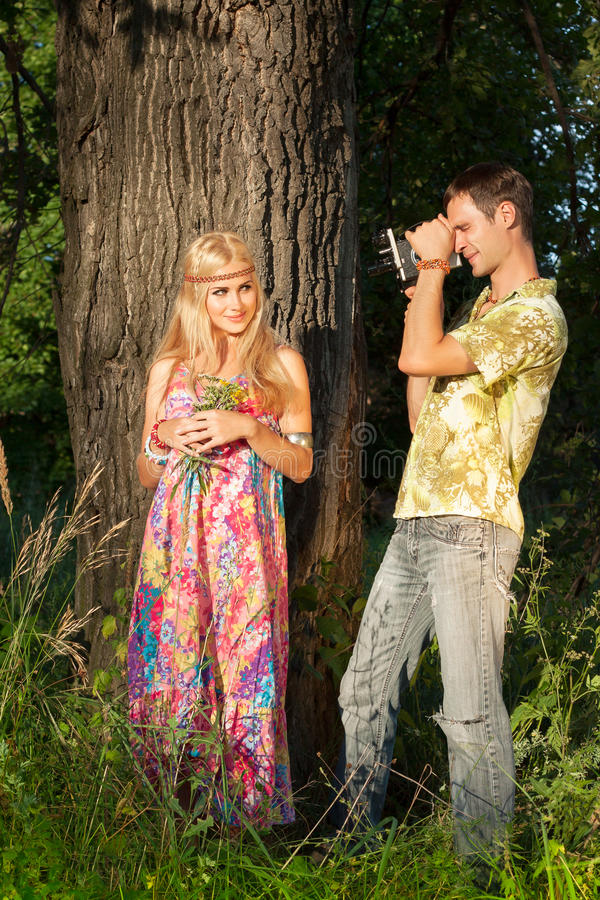 Download Fine Blonde With Flowers And Young Man Stock Photo - Image: 26006660