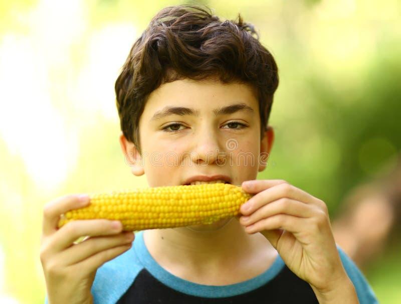 Fine bollita mangiare della pannocchia di granturco del ragazzo dell'adolescente sulla foto fotografie stock