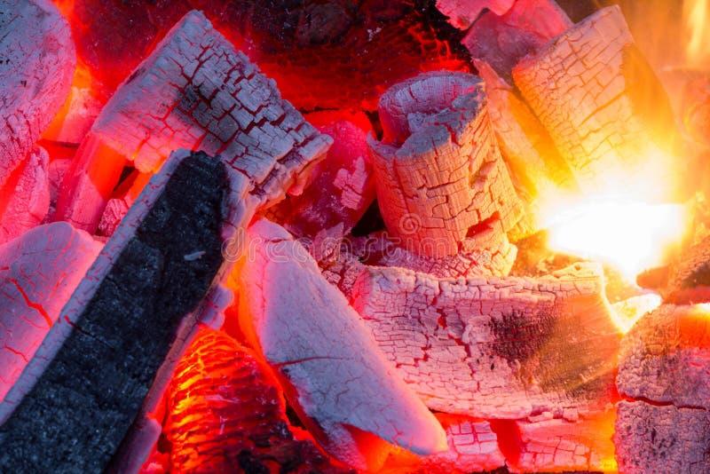 Fine bruciante della legna da ardere su, carbone naturale come fondo fotografia stock