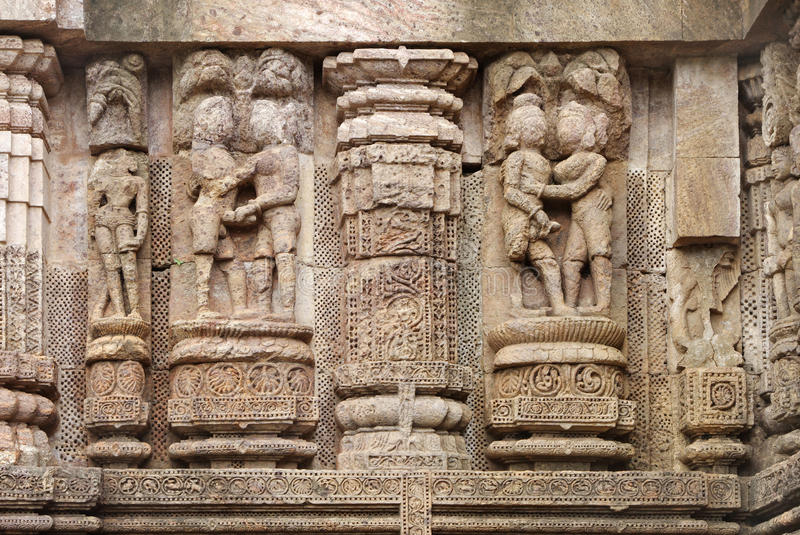 Fine carving of erotic sculptures sun temple stock photo