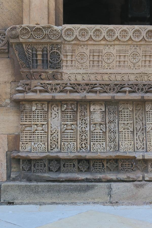 Artistic stone carving on window, Islamic ancient historic a architecture royalty free stock photos