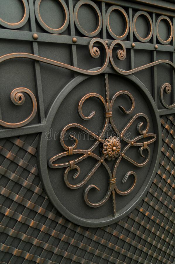 Fine decorative forged gate elements.  royalty free stock images