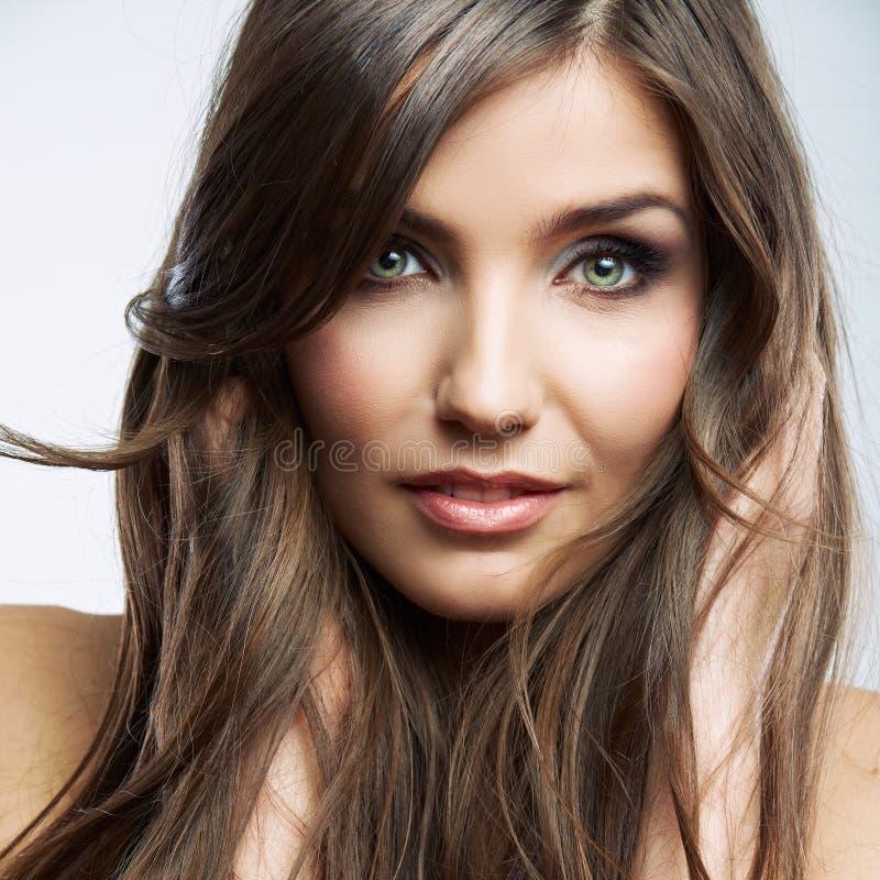 Fine del fronte della donna sul ritratto di bellezza Modello femminile immagine stock
