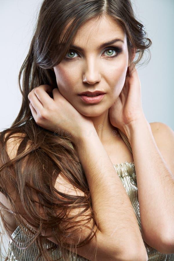 Fine del fronte della donna sul ritratto di bellezza Modello femminile isolato fotografia stock