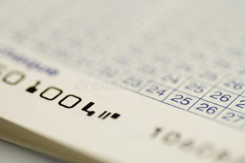 Fine del libro contabile dell'assegno in su immagine stock