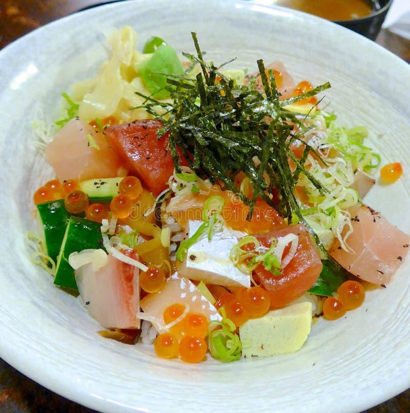 Fine del pasto del sashimi su fotografie stock