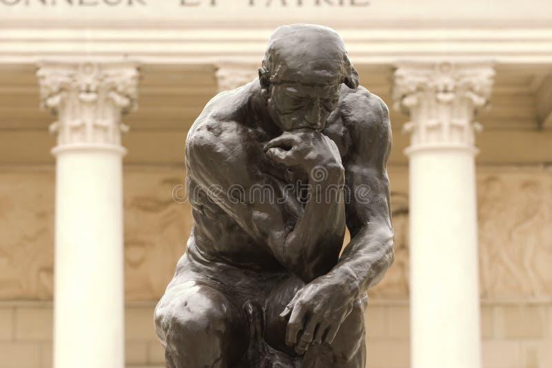 Fine del pensatore del Rodin in su immagini stock