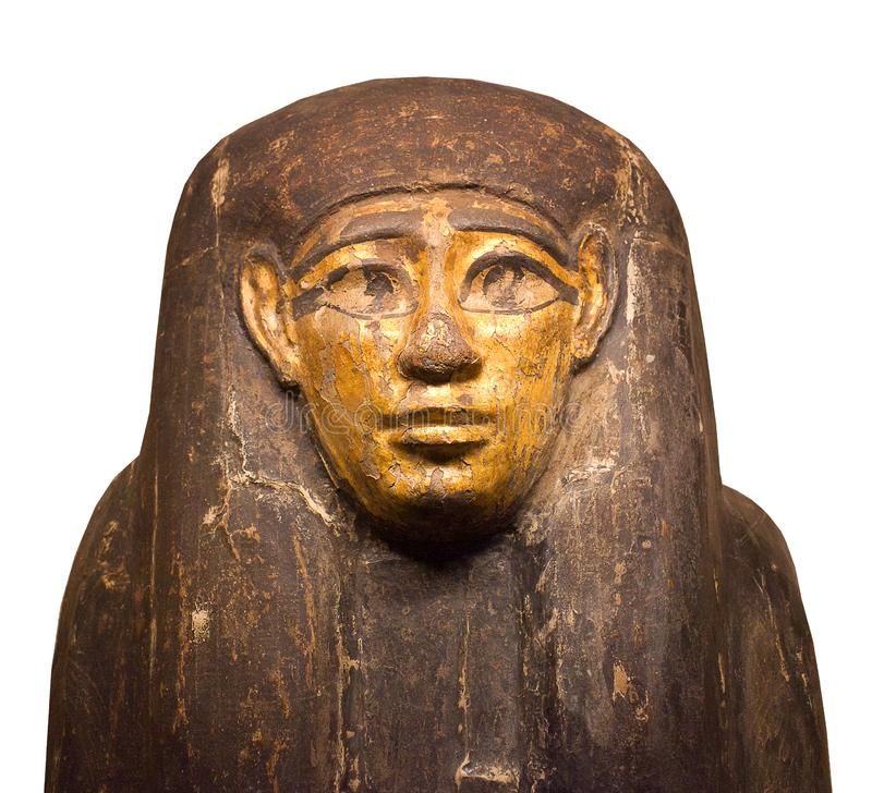Fine del sarcofago di faraone su isolata sui precedenti bianchi fotografia stock libera da diritti