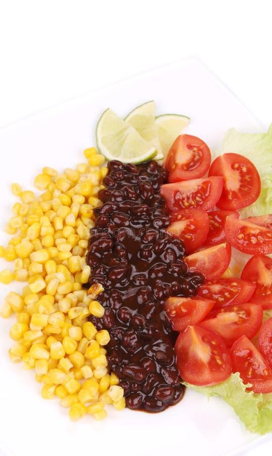 Fine dell'insalata dei fagioli su fotografia stock libera da diritti