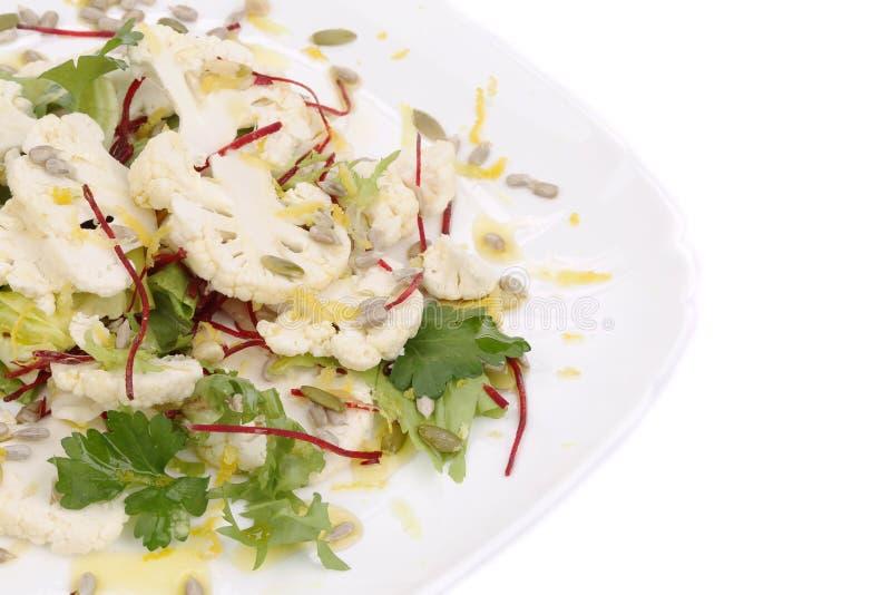 Fine dell'insalata del cavolfiore su Macro fotografie stock