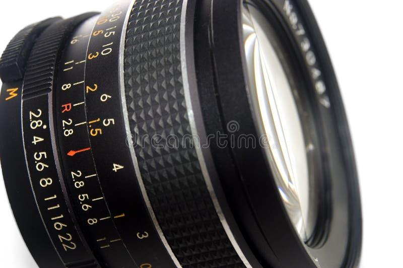 Fine dell'obiettivo di fotographia in su fotografia stock