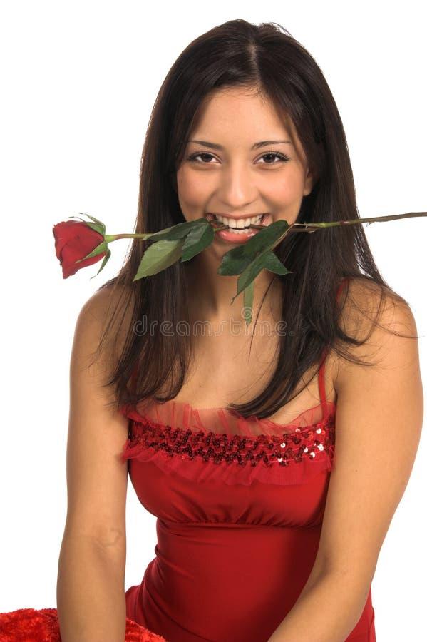 Fine della donna della Rosa in su immagine stock
