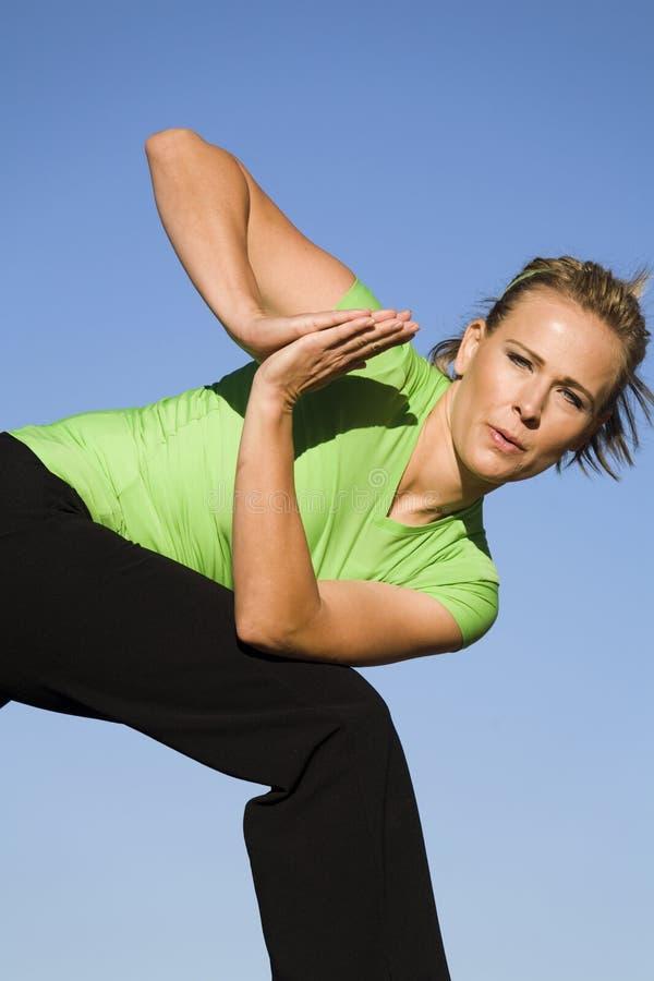 Fine della donna di yoga in su immagine stock libera da diritti