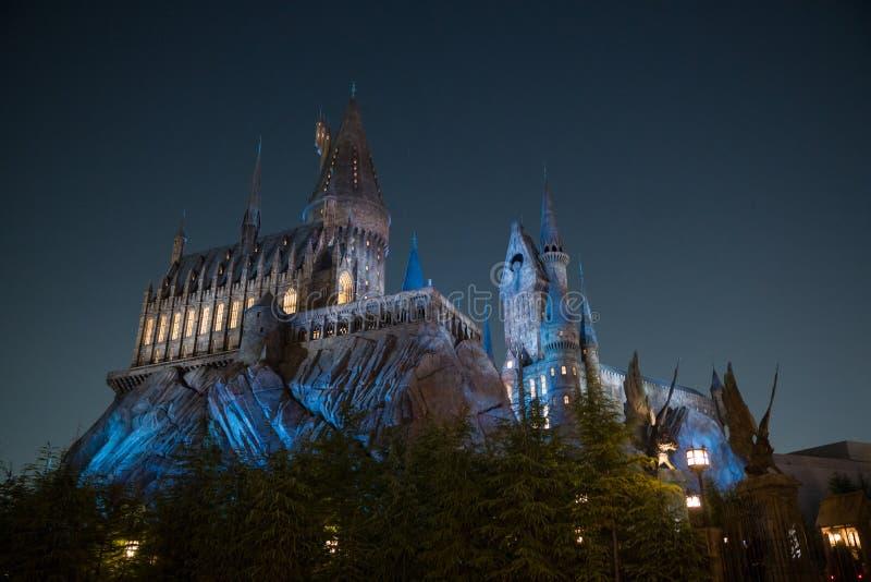 Fine di scena di notte su del castello di Hogwarts fotografie stock libere da diritti