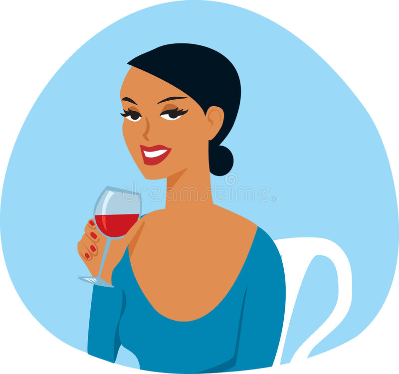 Woman with Wine glass stock illustration