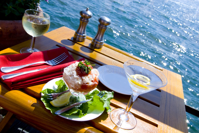 Fine Dining on the Bay For Two stock photo