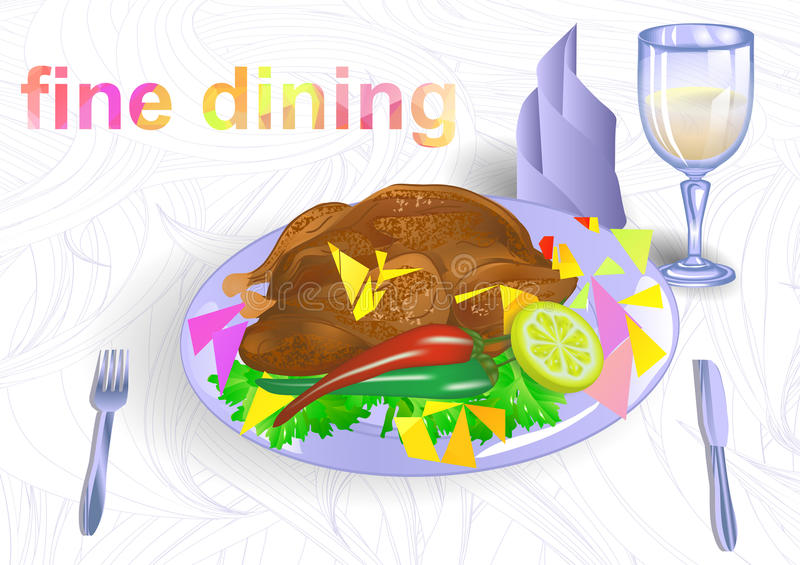 Fine dining. Chicken with vegetables and herbs royalty free illustration