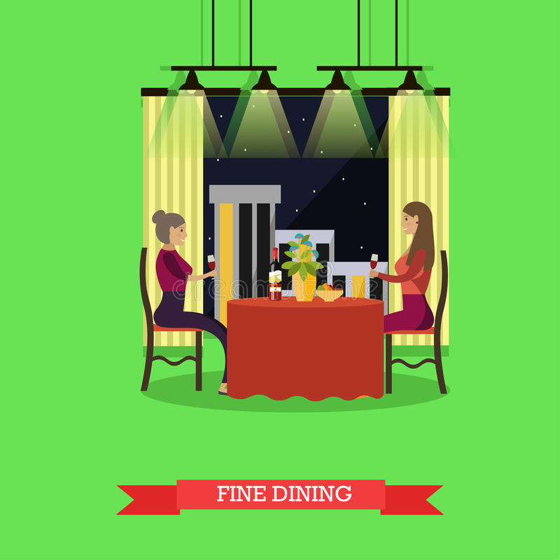 Fine dining concept vector illustration in flat style. Vector illustration of two young woman having dinner at restaurant. Fine dining concept design element in stock illustration