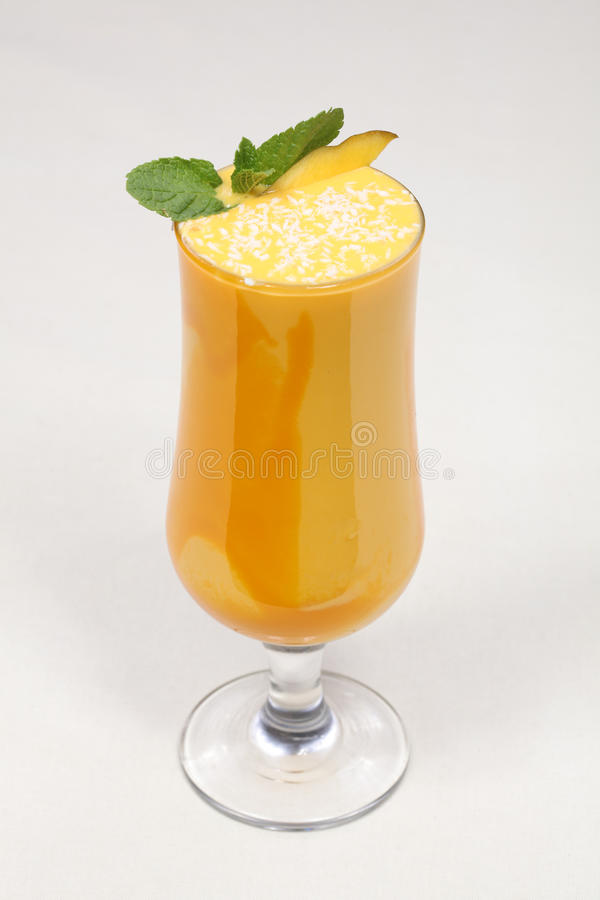 Fine dining meal, delicious mango cocktail