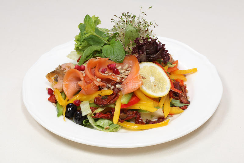 Fine dining meal, smoked salmon