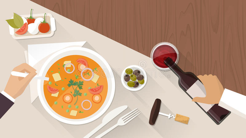 Fine dining at restaurant. A customer is eating a tasty soup and a waiter is pouring wine in a glass vector illustration