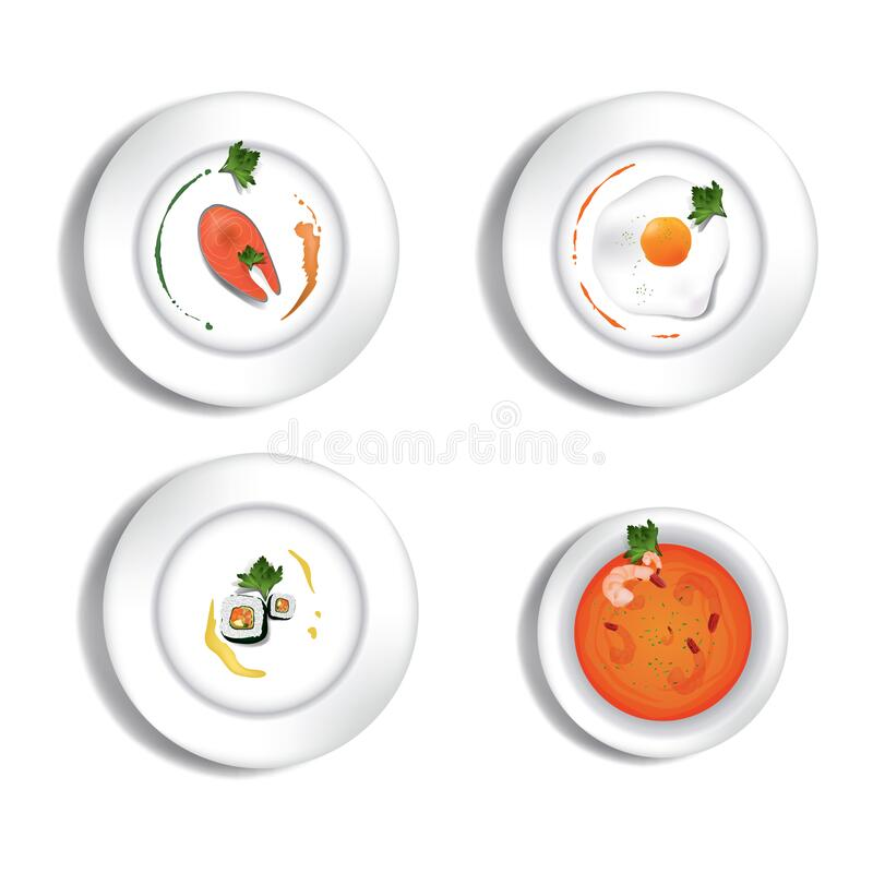 Fine dining restaurant set. Vector illustration decorative background design.  stock illustration