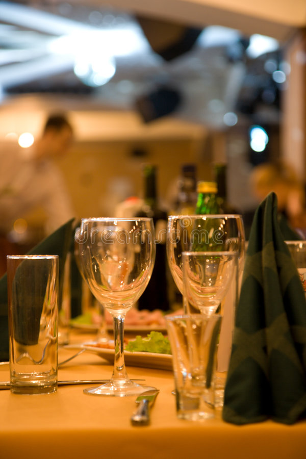Fine dining set table stock photo
