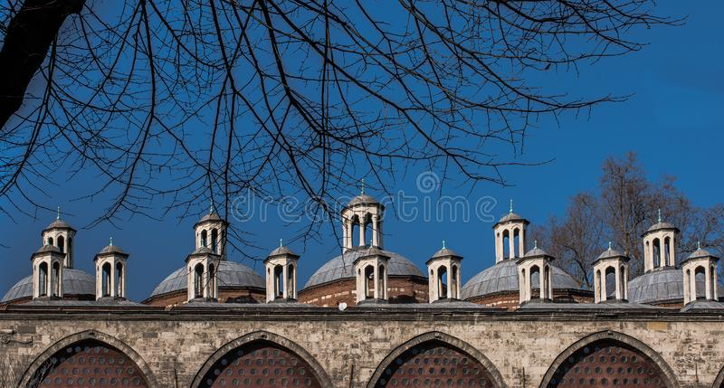 Fine example of ottoman Turkish architecture fragments royalty free stock images