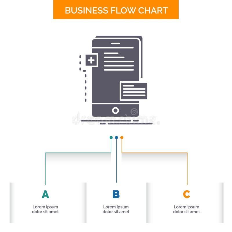 a fine frontale, interfaccia, cellulare, telefono, progettazione del diagramma di flusso di affari dello sviluppatore con 3 punti royalty illustrazione gratis