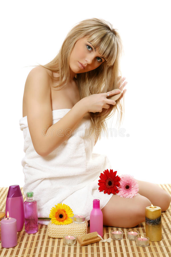 The Fine Girl Of A Candle Stock Photography