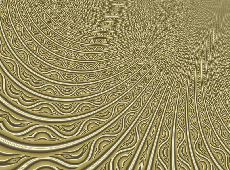 Fine gold modern abstract fractal art. Background illustration with a distorted detailed pattern resembing a filigree. Creative gr royalty free illustration